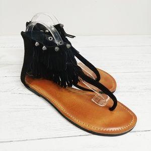 Gianni Bini Suede Fringe Stud Boho Festival Sandal